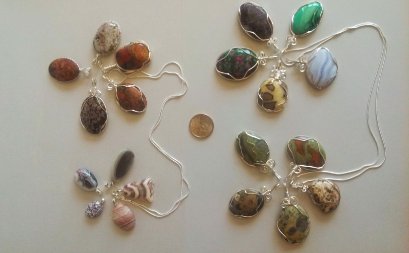 Wire wrapped gemstone jewelry from around the World.  Prices:  $4.00 to $50.00